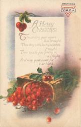 A HAPPY CHRISTMAS  (basket of cherries)
