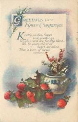 GREETINGS FOR A HAPPY CHRISTMAS  (strawberries and potted plant)