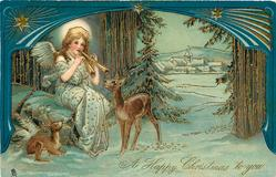 A HAPPY CHRISTMAS TO YOU  seated angel plays pipes to two deer