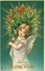 LOVING CHRISTMAS WISHES  angel carries Xmas tree, radiant star