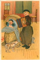 Dutch boy stands playing accordion for crying cross baby in wicker basket, cat observes