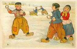 two Dutch boys about to snowball each other, girl hides behind one boy