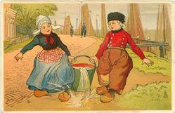 Dutch boy & girl together carry pail of water