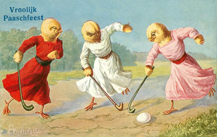 three female chicks play field hockey with walking sticks & egg