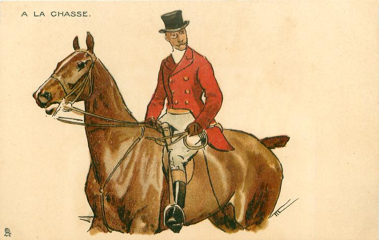 moustached man in hunting attire rides brown horse, facing left, looking front