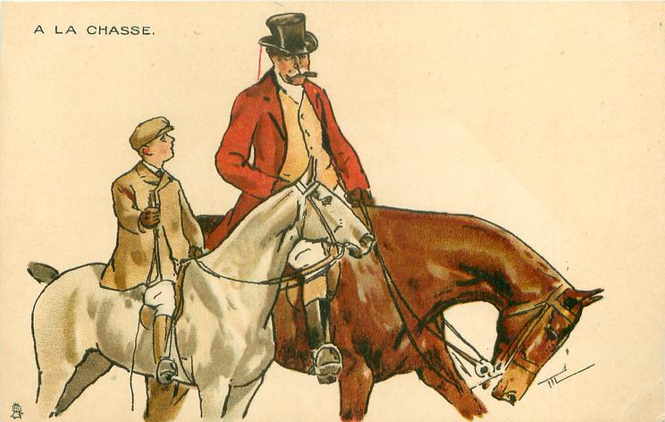 mustached man in hunting attire rides brown horse, facing right, boy on smaller white hose at his side