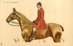 young man in hunting attire rides  brown horse, facing left