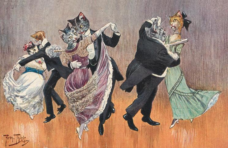 3 couples of cats in evening dress dance