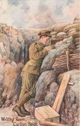 WRITING ROOM, CARLTON HOTEL  soldier standing, writing on a rock