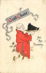 GOOD CHEER FOR THE SEASON  monk bearing boar's head on platter