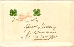 HEARTY GREETINGS FOR CHRISTMAS AND THE NEW YEAR  pig & four-leaf clover
