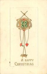 A HAPPY CHRISTMAS  pig, four-leaf clover, heart & mushroon charms
