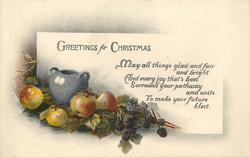 GREETINGS FOR CHRISTMAS  (apples/berries with gray vase)