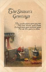 THE SEASON'S GREETINGS  (old woman by hearth)