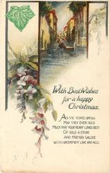 WITH BEST WISHES FOR CHRISTMAS  flowers, canal scene, green leaf 1919