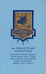 HAPPINESS BE YOURS  A CHRISTMAS GREETING inset bird on branch