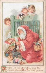 A BRIGHT AND MERRY CHRISTMAS MAY IT BE Santa with book kneels at foot of bed, 3 children & puppy observe