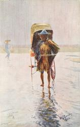 RICKSHAW COOLIE IN A DOWNPOUR OF RAIN