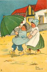 Dutch boy with umbrella, in wind, Dutch girl clutching his shirt