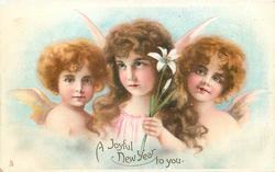 A JOYFUL NEW YEAR TO YOU  three angels, centre angel holds lily