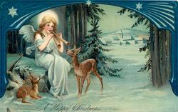 A HAPPY CHRISTMAS  angel playing pipes to deer, blue decorated border above