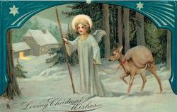 LOVING CHRISTMAS WISHES  angel leading fawn loaded with sack, blue decorated border above