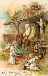 CHRISTMAS GREETINGS  gold robed Santa and two angels preparing toys