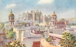 UDAIPUR CITY . VIEW OF THE PALACE