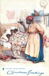 THE NIGHT BEFORE CHRISTMAS  three black children in bed, mother holds up candle