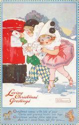 LOVING CHRISTMAS GREETINGS  children as Pierrot & Pierrette post letters