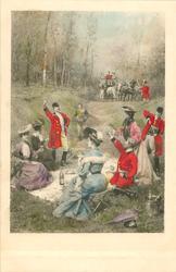 huntsmen propose a toast at picnic, coach distant