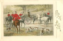 woman stands up in her trap to point the hunt the way the fox went, 7 hounds, 6 riders