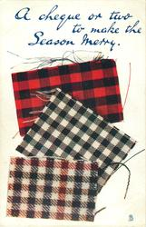 A CHEQUE OR TWO TO MAKE THE SEASON MERRY  three tartans