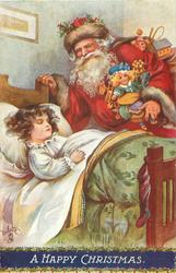 A HAPPY CHRISTMAS  Santa with many toys looks down on sleeping girl in bed