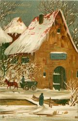 CHRISTMAS GREETINGS  old-time town snow scene, horse-drawn moving left, woman at bridge