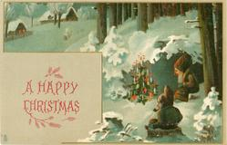 A HAPPY CHRISTMAS  two dwarves sit round christmas tree in snow