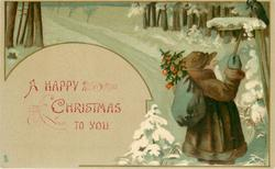 A HAPPY CHRISTMAS TO YOU , dwarf Santa clears snow from sign by snowy road, crow observes