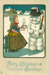 MERRY CHRISTMAS GREETINGS  girl offers steaming bowl to snow-man