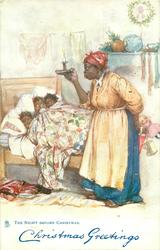 THE NIGHT BEFORE CHRISTMAS three black children in bed, mother with raised candle, toys behind