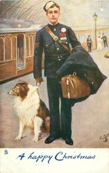 A HAPPY CHRISTMAS  messenger boy with dog on train platform