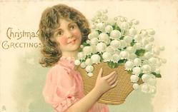 CHRISTMAS GREETINGS  girl in pink dress holds gold basket of exaggerated lilies-of-the-valley
