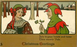 CHRISTMAS GREETINGS   JOIE TO YOUR HEARTE AND HOME THIS MERRIE YULE