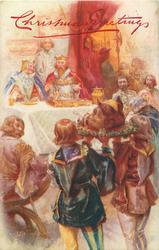 medieval, pages carry boar's head to King & Queen at table