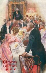 toast proposed by many people round loaded dining table, picture behind