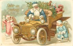CHRISTMAS GREETINGS  blue coated Santa drives laden car, snowballed by angels