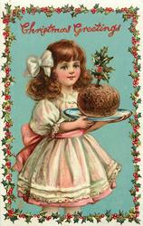 CHRISTMAS GREETINGS girl carries Xmas pudding with holly sprig