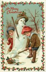 A MERRY CHRISTMAS  boy & girl play near snowman