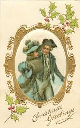 CHRISTMAS GREETINGS  silk inset lovers in old style dress, man on right, holly around