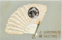 CHRISTMAS GREETINGS  open fan around photo-inset of girl looking front