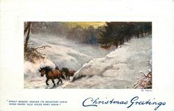 CHRISTMAS GREETINGS  horses in snow